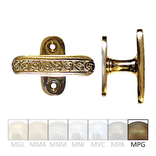 Fensterolive auf Rosette Nr.: 520 Messing MPG Grifflänge 82 mm der Serie FG004 Bild1