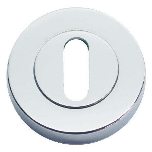 Schlüsselrosette mit Buntbart (BB2)-Lochung Messing verchromt mit Schutzlack, Durchmesser: 48 Bild1