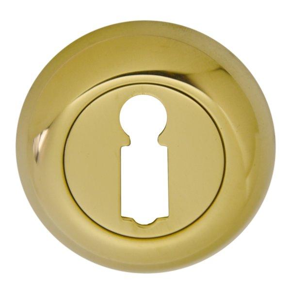 Schlüsselrosette mit Buntbart-Lochung Messing glänzend mit Schutzlack, Durchmesser: 48mm. Kira Bild1
