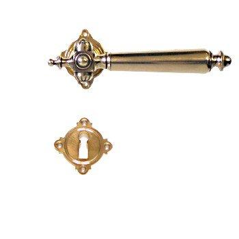 Rosettengarnitur in Messing (BB). Rosette: 48x48 mm, Griff: 130 mm Bild1