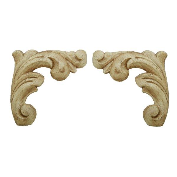 Verzierungsecke in Buche Paar. 100x95 mm Bild1