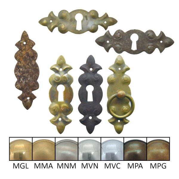 Schlüsselschild Hochkant mit Schlüsselloch, Messing Bild1