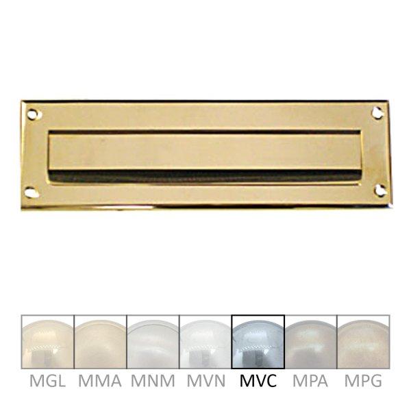 Briefklappe Material: Messing für Wohnungseingangstüre außen Außenmaße: B 265 mm x H 82 mm x T 6 mm Einwurfmaße: B 2210 x H 31 mm Der Serie BK008 Bild1