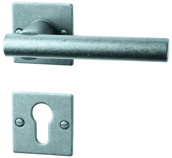 Rosettengarnitur in Eisen schwarz passiviert (PZ). Rosette: 52x52 mm, Griff: 125 mm Bild1