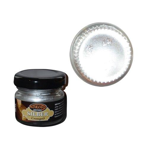 Gold-Creme 25 ml Silber in Pastenform mit einer hohen Deckfähigkeit. Bild1