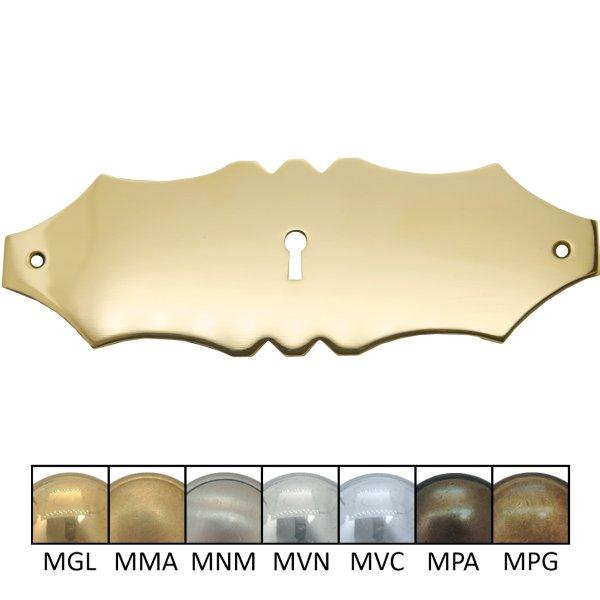 Schlüsselschild quer mit Schlüsselloch, Messing glänzend, 180 x 60 mm der Serie BA054 Bild1