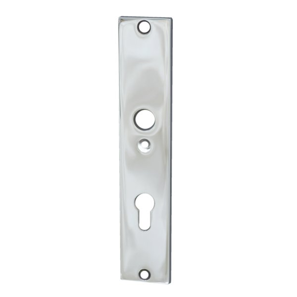 Rechteckiges Haustürschild Dist. 72 mm PZ,Messing vernickelt mit Schutzlack ,Inenen Bild1