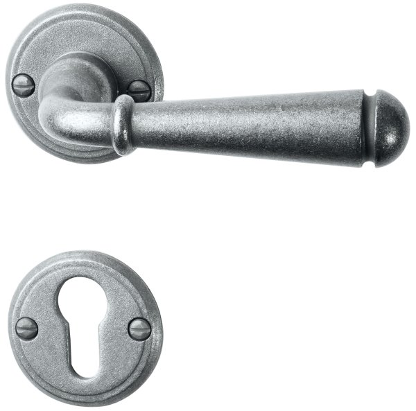Rosettengarnitur in Eisen thermopatiniert ® (PZ). Rosette: 53 mm, Griff: 135 mm Bild1