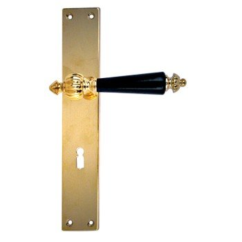 Zimmertürgarnitur in Messing poliert (BB). Dist. 72 mm, 240x40 mm Bild1
