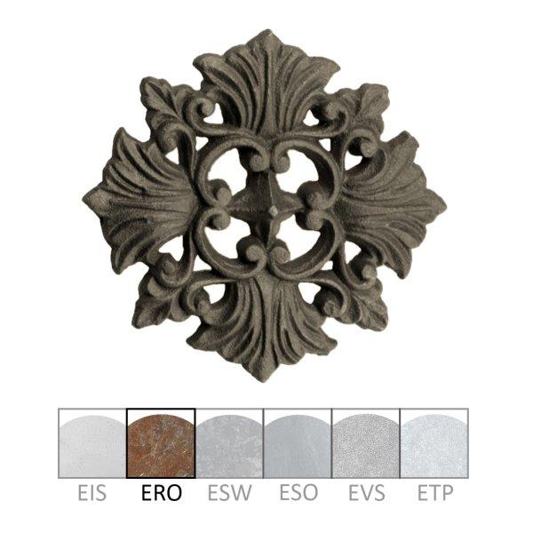 Zierrosette Eisen gerostet 185 x 180 mm der Serie AP003 Bild1
