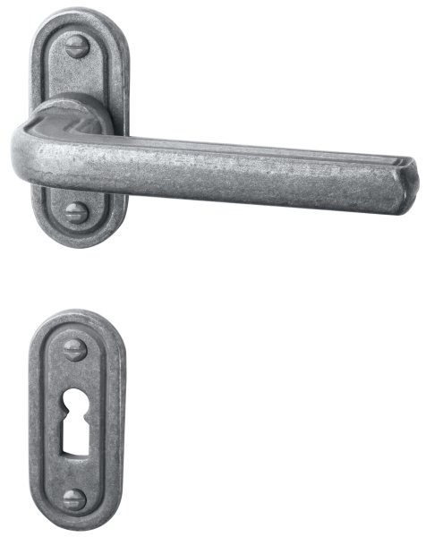 Rosettengarnitur in Eisen thermopatiniert ® (BB). Rosette: 73x30 mm, Griff: 120 mm Bild1