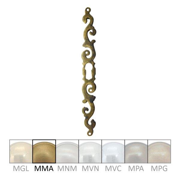 Rokoko Schlüsselschild Hochkant mit Schlüsselloch, Messing matt, 15 x 135 mm der Serie RK022 Bild1