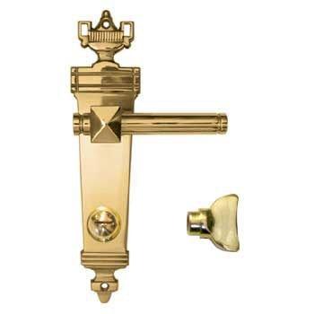 WC-Türgarnitur in Messing poliert . Dist. 78 mm, 230x54 mm Bild1