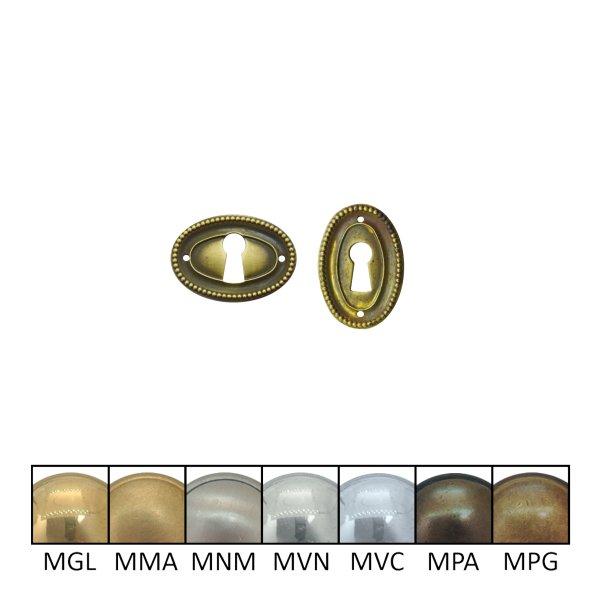 Klassizismus Möbelschild geprägt Messing MPG 38 x 26 mm mit Schlüsselloch der Serie KL150 Bild1