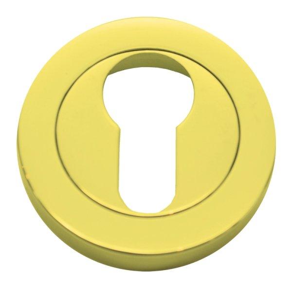 Schlüssellochrosette Messing glänzend mit Schutzlack mit Profilzylinder-Lochung Durchmesser: 50 mm Bild1