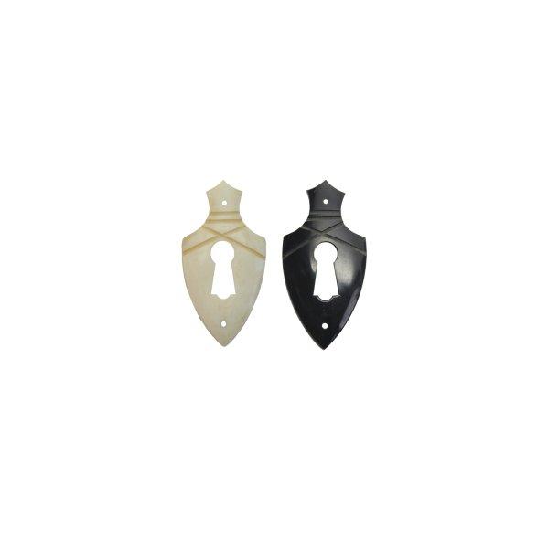 Klassizismus Möbelschild Material Bein weiß.28 x 55 mm mit Schlüsselloch der Serie KL133 Bild1