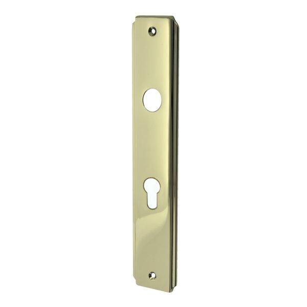 Zimmertürschild Dist. 72 mm PZ, Messing glänzend mit Schutzlack. Seitliche Rille.  Bild1