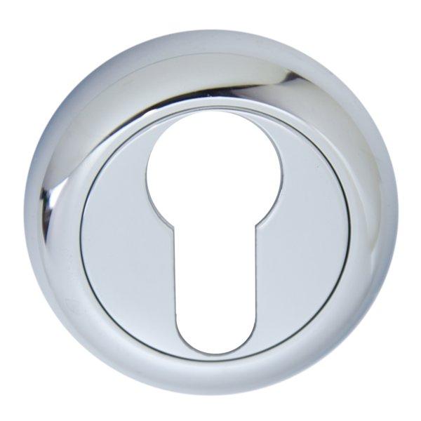 Schlüssellochrosette Messing verchromt mit Schutzlack mit PZ-Lochung Durchmesser: 50mm. Kira Bild1