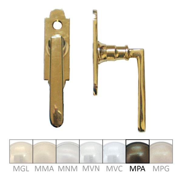 Fenstergriff auf Rosette Nr.: 531 Messing MPA Grifflänge 75 mm der Serie FG025 Bild1