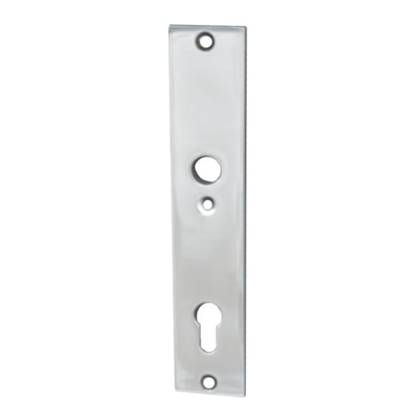 Rechteckiges Haustürschild  Dist. 92 mm PZ, Messing vernickelt matt mit Schutzlack ,Inenn Bild1