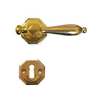 Rosettengarnitur in Messing (BB). Rosette: 55 mm, Griff: 115 mm Bild1