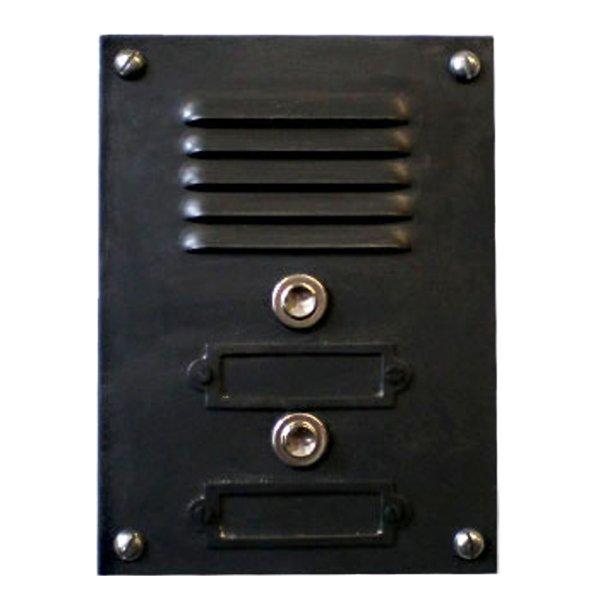 Klingeltableau Eisen matt schwarz Maße: Höhe ca. 170 mm Breite ca. 125 mm Stärke ca. 2 mm Klingeltableau mit 2 x Klingelknopf und Gitter für Gegensprechanlage Bild1