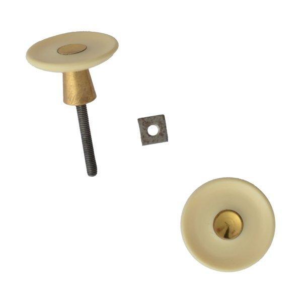 Möbelknopf Kunststoff AD001 Maße: D32 mm Messing glänzend/Elfenbein Bild1