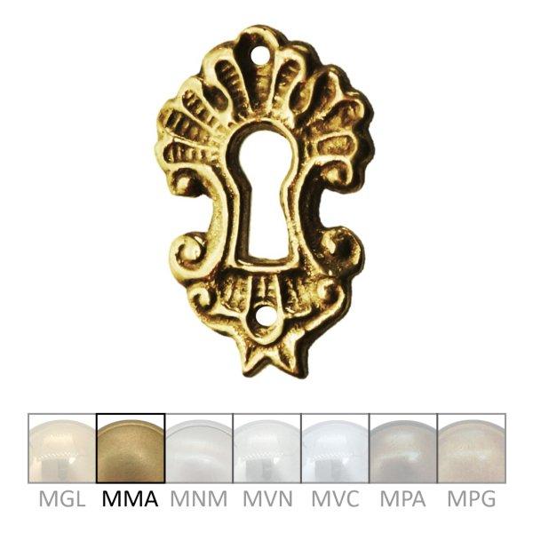 Rokoko Schlüsselschild Hochkant mit Schlüsselloch, Messing  matt, 25 x 40 mm der Serie RK004 Bild1