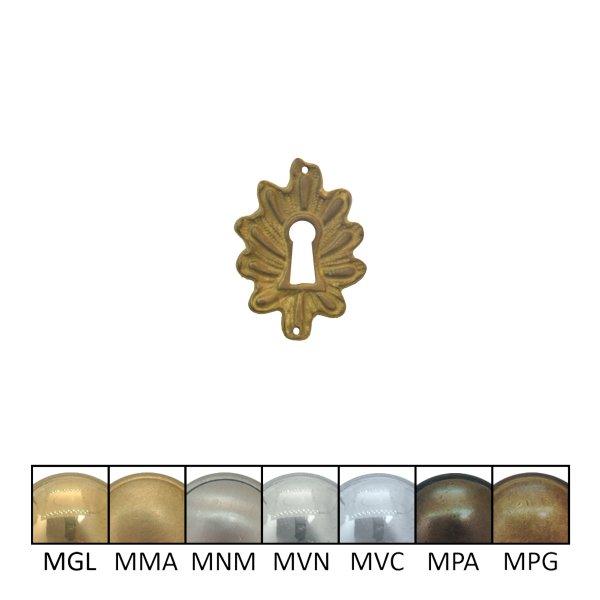Rokoko Schlüsselschild Hochkant mit Schlüsselloch, Messing glänzend, 50 x 85 mm der Serie RK003 Bild1