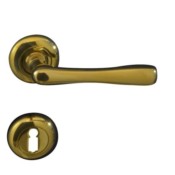 Rosettengarnitur in Messing glänzend (BB). Rosette: 48 mm, Griff: 110 mm Bild1