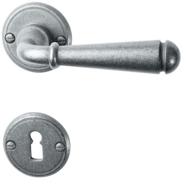 Rosettengarnitur in Eisen thermopatiniert ® (BB). Rosette: 53 mm, Griff: 135 mm Bild1
