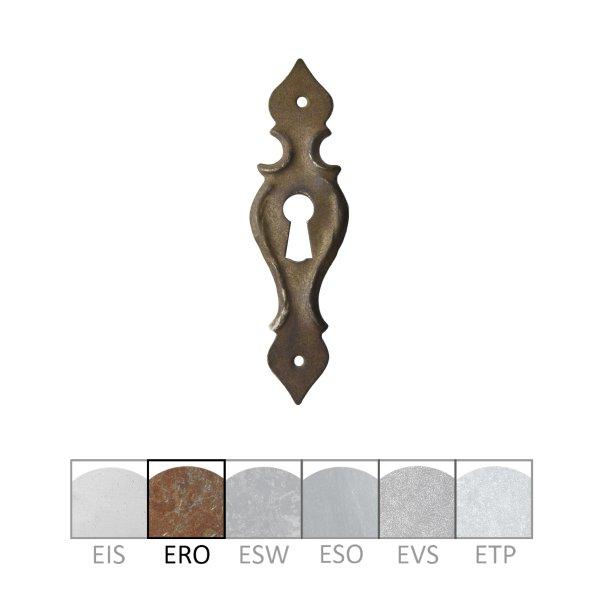 Barock Möbelschild geprägt - Eisen rostig - 30 x 100 mm der Serie BA001 Bild1