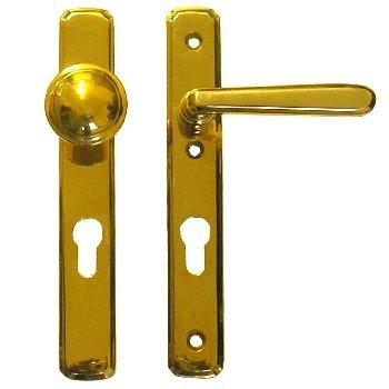 Sicherheitsgarnitur, Messing poliert, Knauf fest, PZ 92 mm, DIN Rechts H x B: 230 x 35 mm inkl. Zubehör Bild1