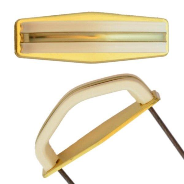 Bügelgriffe AD001Art Deco Maße: 90 mm x 27 mm Messing glänzend/Elfenbein Bild1