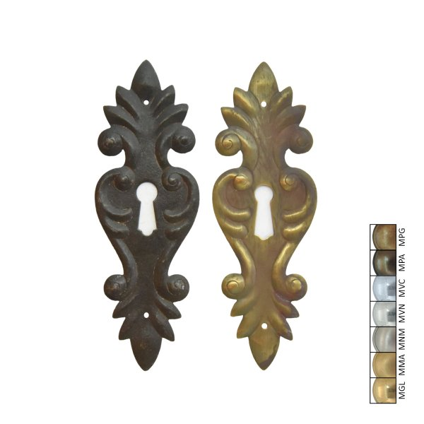 Schlüsselschild 130 x 45 mm hochkant mit Schlüsselloch, Messing matt Bild1