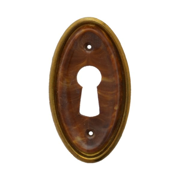 Hochkant mit Schlüsselloch AD001Art Deco Maße: 28 mm x 47 mm Messing glänzend/Braun Bild1