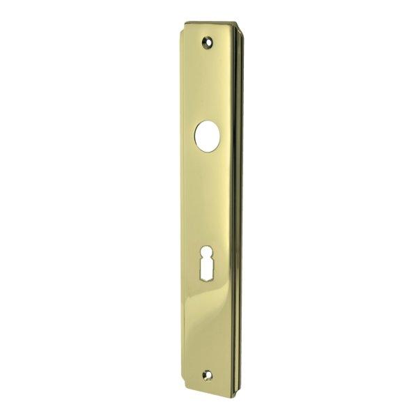 Zimmertürschild Dist. 72 mm BB, Messing glänzend mit Schutzlack. Seitliche Rille.  Bild1