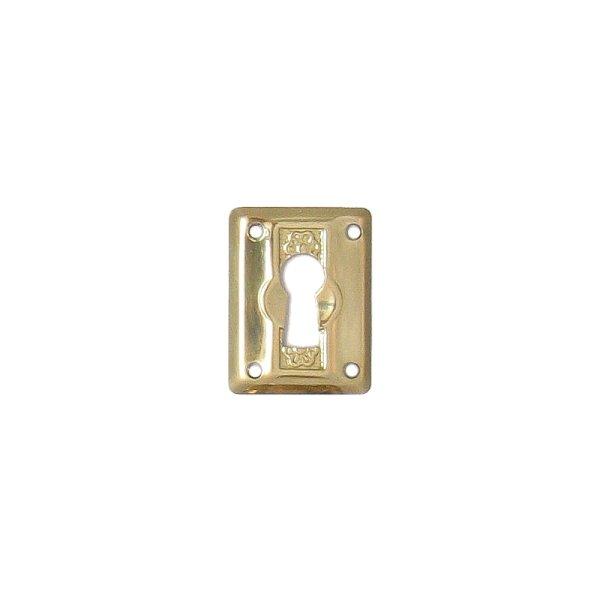 Jugendstil Möbelschild geprägt - Messing glänzend - 23 x 30 mm der Serie JU001 Bild1