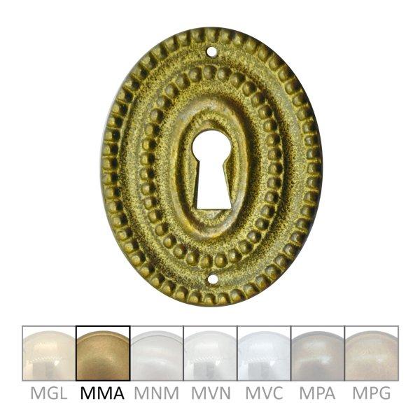 Klassizismus Möbelschild geprägt Messing MMA 42x52mm mit Schlüsselloch Serie KL146 Bild1