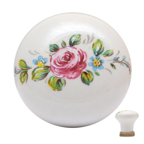 Porzellanknopf weiß (Rose). D: 31 mm Bild1
