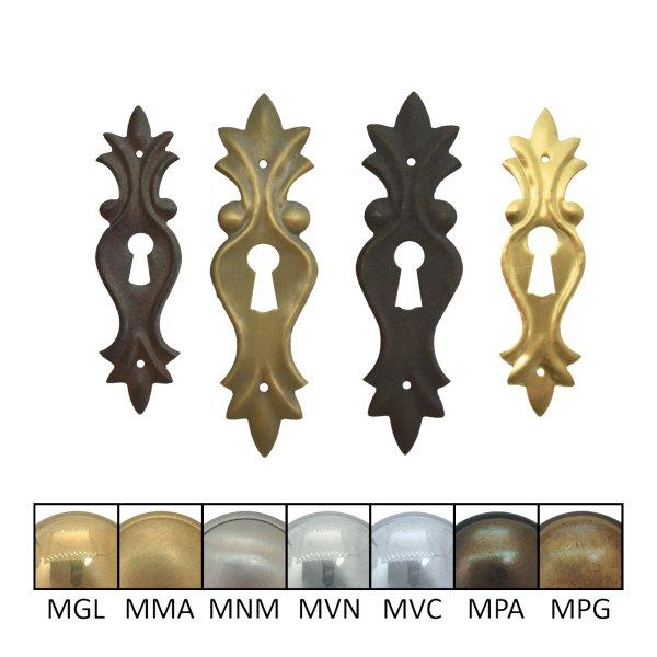 Schlüsselschild 100 x 30 mm hochkant mit Schlüsselloch, Messing matt Bild1