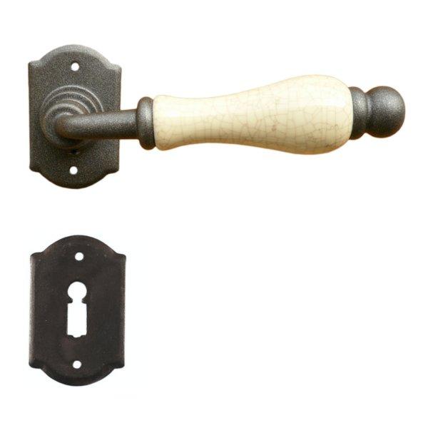 Rosettengarnitur in Eisen bronze schwarz (BB). Rosette: 64x40 mm, Griff: 125 mm Bild1