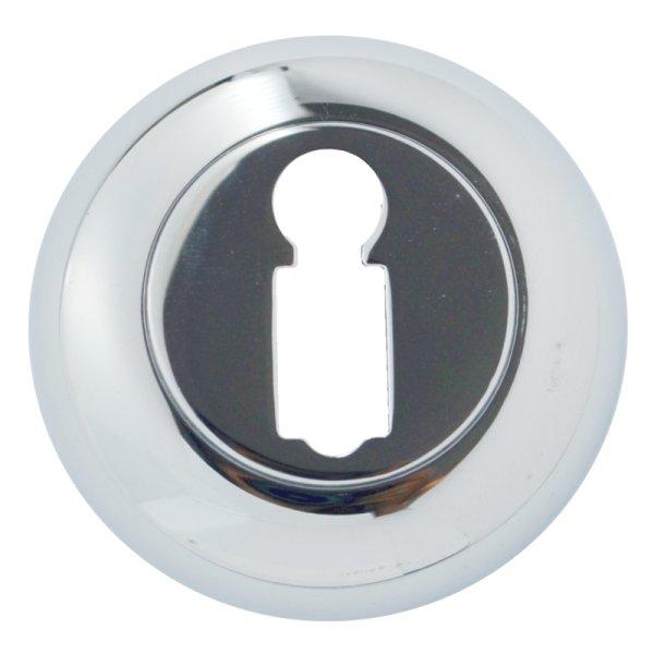 Schlüsselrosette mit Buntbart-Lochung Messing verchromt mit Schutzlack, Durchmesser: 48 mm. Kira Bild1