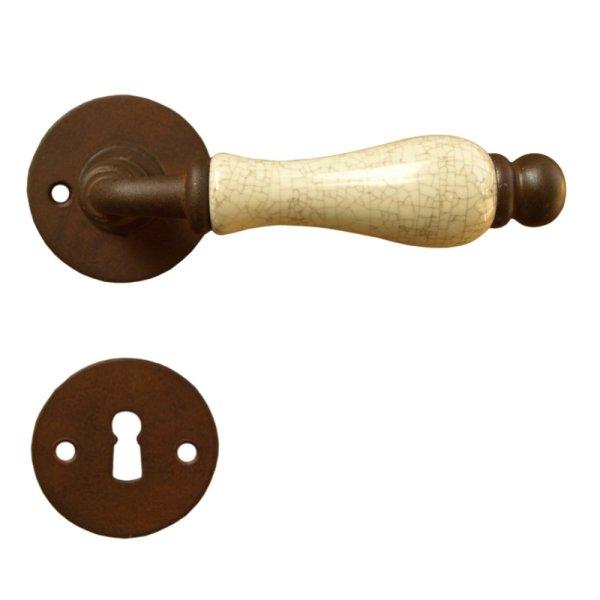 Rosettengarnitur in Eisen gerostet (BB). Rosette: 50x50 mm, Griff: 125 mm Bild1