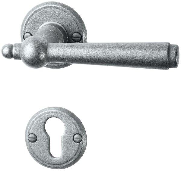 Rosettengarnitur in Eisen thermopatiniert ® (PZ). Rosette: 53 mm, Griff: 125 mm Bild1
