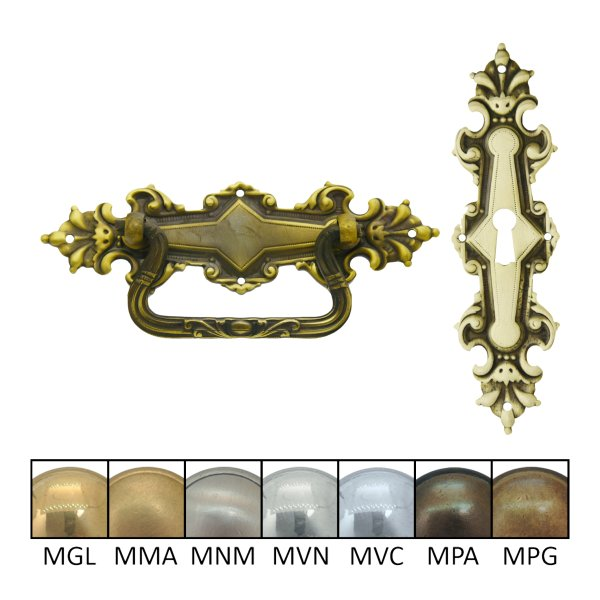 Historismus Möbelschild geprägt Messing MPG 32 X 120 mm mit Schlüsselloch der Serie HI032 Bild1