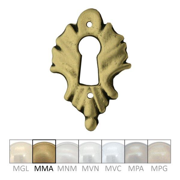Klassizismus Möbelschild geprägt Messing MMA 35x52mm mit Schlüsselloch Serie KL160 Bild1