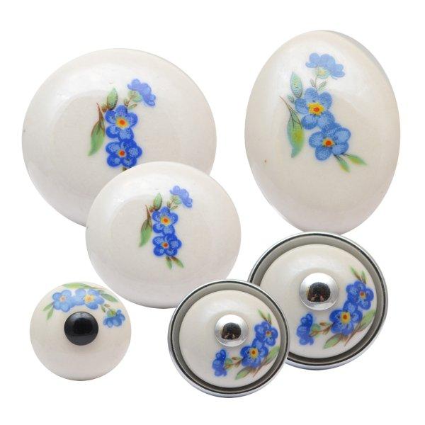 Möbelknopf, Porzellan,altweiß oval, Messingsockel Bild1