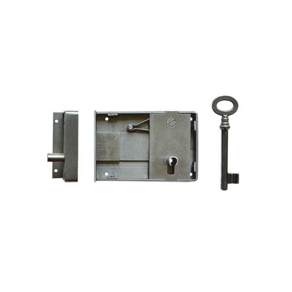 Aufschraubschloss AS010 Eisen gebürstet Dornmaß: D80 mm Bild1