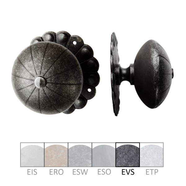 Haustürknauf (fest) auf Rosette in Eisen passiviert. D: 90 mm Bild1